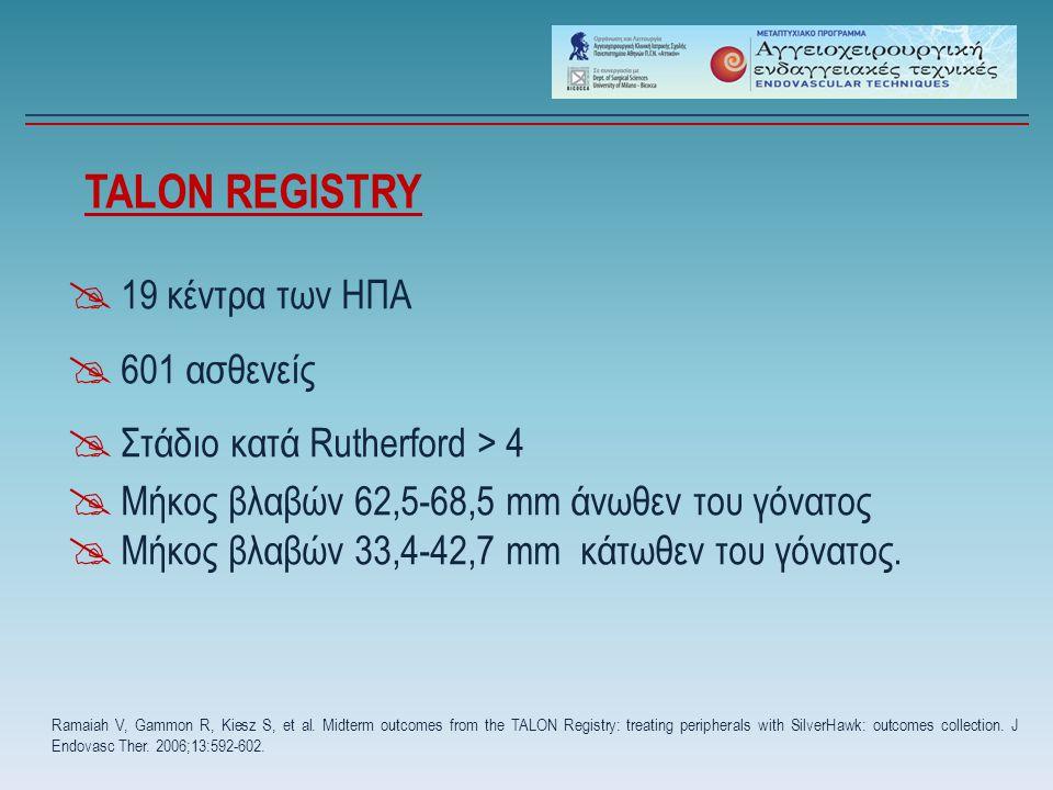 TALON REGISTRY  19 κέντρα των ΗΠΑ  601 ασθενείς  Στάδιο κατά Rutherford > 4  Μήκος βλαβών 62,5-68,5 mm άνωθεν του γόνατος  Μήκος βλαβών 33,4-42,7