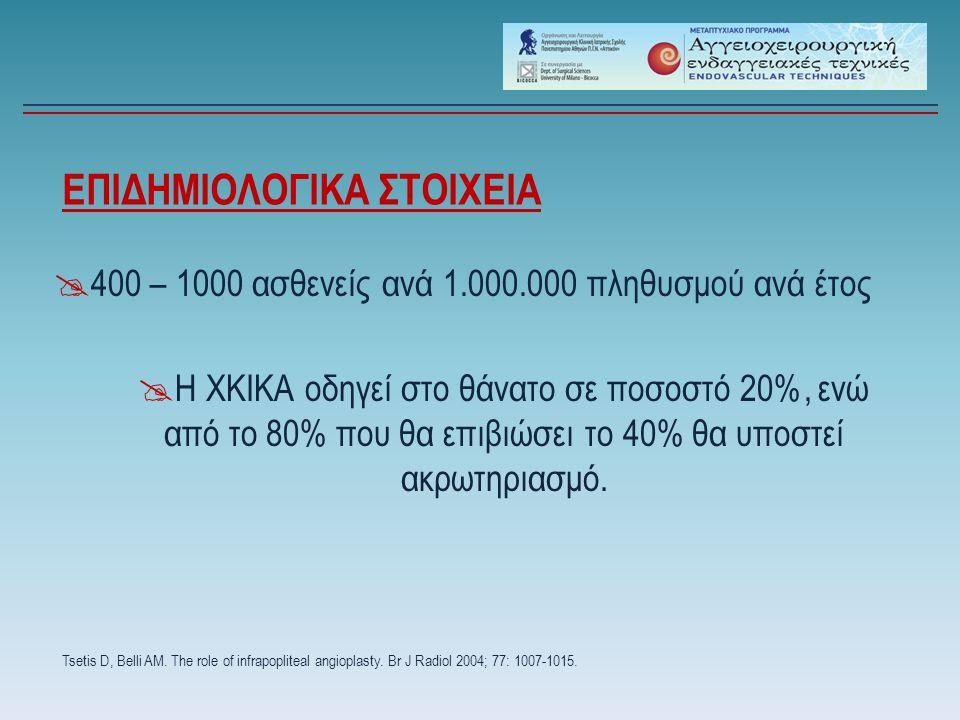 ΕΠΙΔΗΜΙΟΛΟΓΙΚΑ ΣΤΟΙΧΕΙΑ  400 – 1000 ασθενείς ανά 1.000.000 πληθυσμού ανά έτος Tsetis D, Belli AM. The role of infrapopliteal angioplasty. Br J Radiol