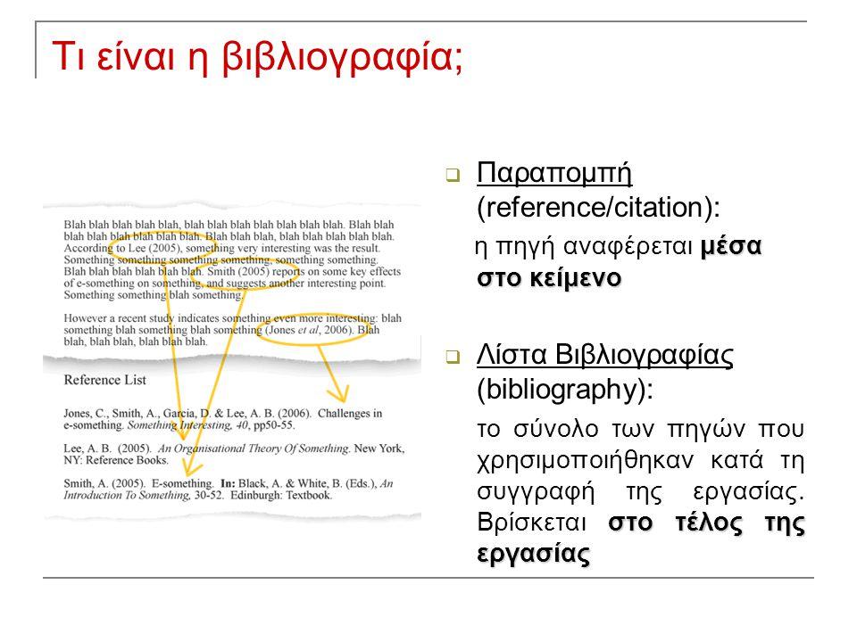  Παραπομπή (reference/citation): μέσα στο κείμενο η πηγή αναφέρεται μέσα στο κείμενο  Λίστα Βιβλιογραφίας (bibliography): στο τέλος της εργασίας το