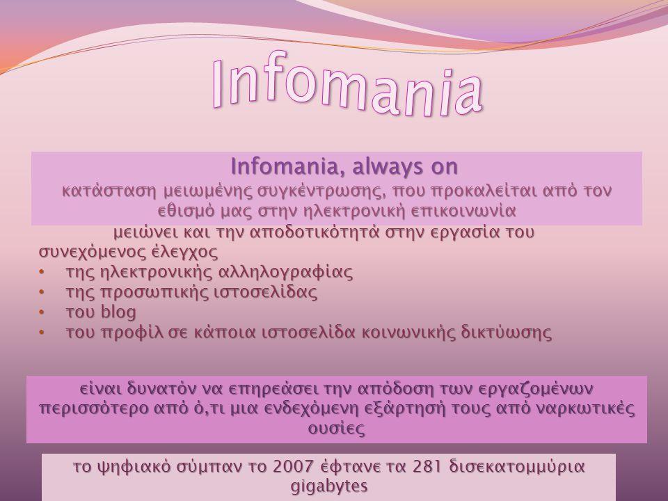 Infomania, always on κατάσταση μειωμένης συγκέντρωσης, που προκαλείται από τον εθισμό μας στην ηλεκτρονική επικοινωνία μειώνει και την αποδοτικότητά στην εργασία του συνεχόμενος έλεγχος • της ηλεκτρονικής αλληλογραφίας • της προσωπικής ιστοσελίδας • του blog • του προφίλ σε κάποια ιστοσελίδα κοινωνικής δικτύωσης είναι δυνατόν να επηρεάσει την απόδοση των εργαζομένων περισσότερο από ό,τι μια ενδεχόμενη εξάρτησή τους από ναρκωτικές ουσίες το ψηφιακό σύμπαν το 2007 έφτανε τα 281 δισεκατομμύρια gigabytes