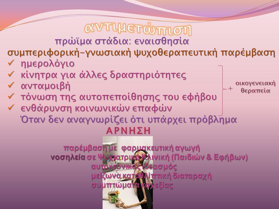 πρώϊμα στάδια: εναισθησία πρώϊμα στάδια: εναισθησία συμπεριφορική-γνωσιακή ψυχοθεραπευτική παρέμβαση  ημερολόγιο  κίνητρα για άλλες δραστηριότητες 