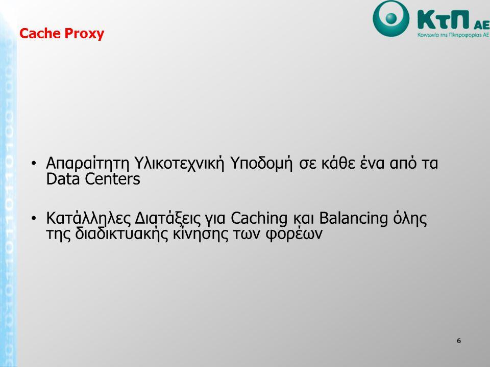 6 • Απαραίτητη Υλικοτεχνική Υποδομή σε κάθε ένα από τα Data Centers • Κατάλληλες Διατάξεις για Caching και Balancing όλης της διαδικτυακής κίνησης των φορέων Cache Proxy