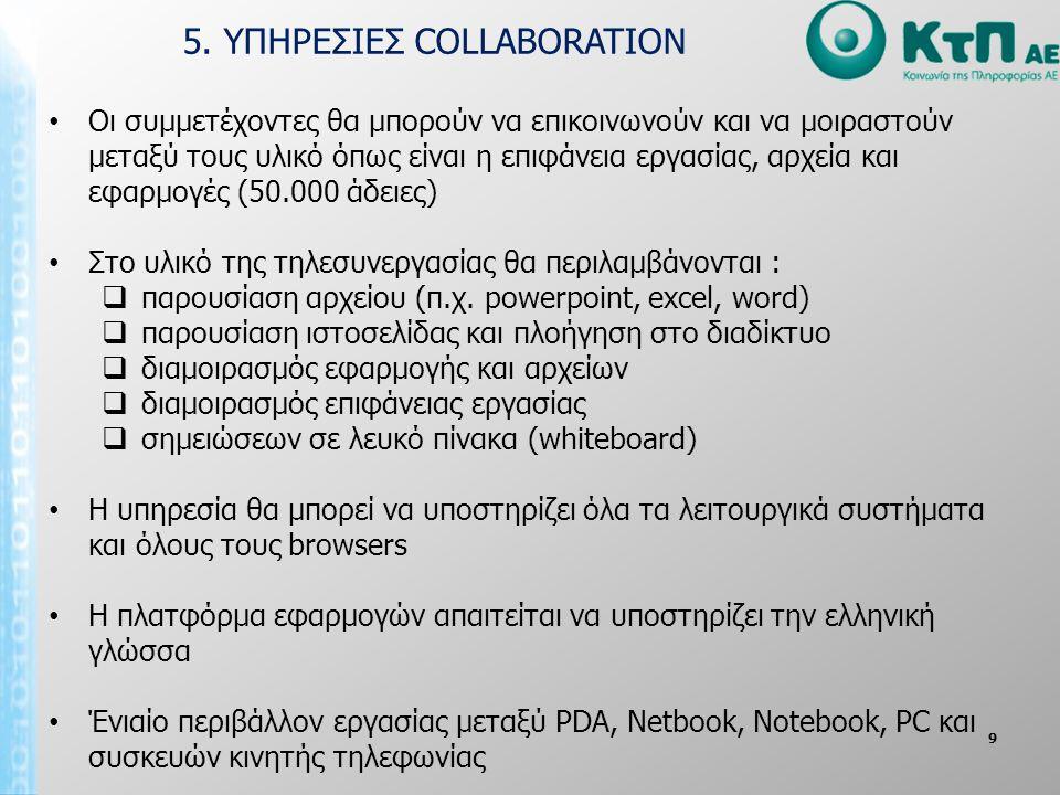 9 • Οι συμμετέχοντες θα μπορούν να επικοινωνούν και να μοιραστούν μεταξύ τους υλικό όπως είναι η επιφάνεια εργασίας, αρχεία και εφαρμογές (50.000 άδειες) • Στο υλικό της τηλεσυνεργασίας θα περιλαμβάνονται :  παρουσίαση αρχείου (π.χ.