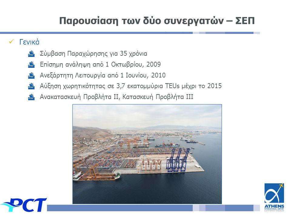 Γενικά  Σύμβαση Παραχώρησης για 35 χρόνια  Επίσημη ανάληψη από 1 Οκτωβρίου, 2009  Ανεξάρτητη Λειτουργία από 1 Ιουνίου, 2010  Αύξηση χωρητικότητας σε 3,7 εκατομμύρια TEUs μέχρι το 2015  Ανακατασκευή Προβλήτα II, Κατασκευή Προβλήτα III Παρουσίαση των δύο συνεργατών – ΣΕΠ