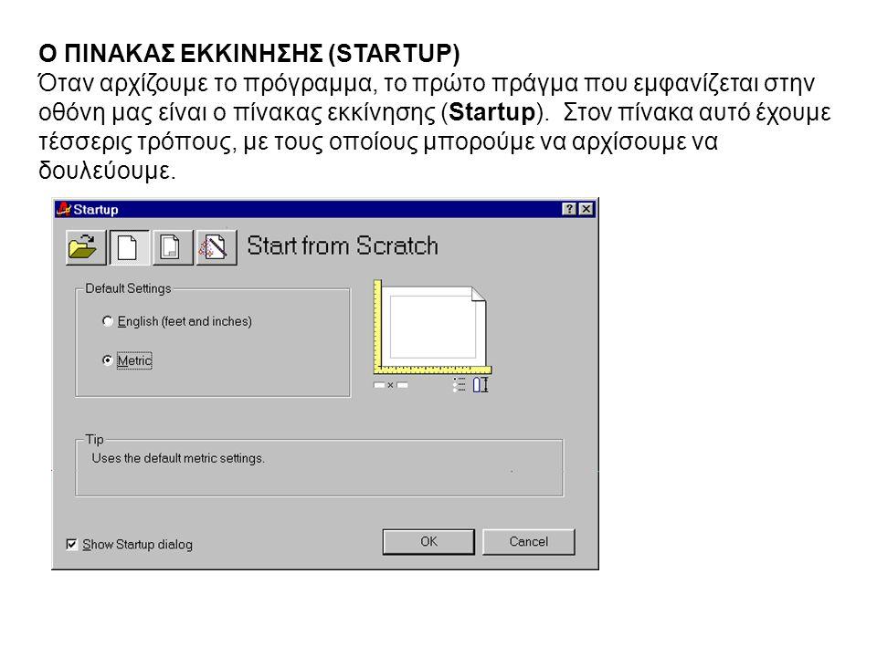 Ο ΠΙΝΑΚΑΣ ΕΚΚΙΝΗΣΗΣ (STARTUP) Όταν αρχίζουμε το πρόγραμμα, το πρώτο πράγμα που εμφανίζεται στην οθόνη μας είναι ο πίνακας εκκίνησης (Startup). Στον πί