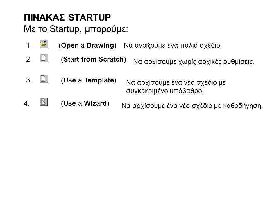ΠΙΝΑΚΑΣ STARTUP Με το Startup, μπορούμε: 1. (Open a Drawing)Να ανοίξουμε ένα παλιό σχέδιο. 2.(Start from Scratch) 3.(Use a Template) 4.(Use a Wizard)