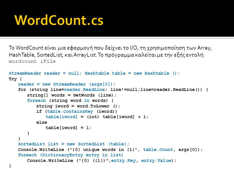 Το WordCount είναι μια εφαρμογή που δείχνει το I/O, τη χρησιμοποίηση των Array, HashTable, SortedList, και ArrayList.
