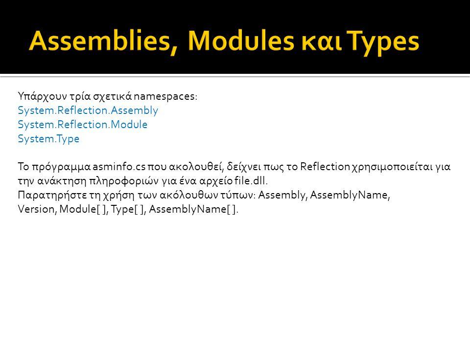 Υπάρχουν τρία σχετικά namespaces: System.Reflection.Assembly System.Reflection.Module System.Type Το πρόγραμμα asminfo.cs που ακολουθεί, δείχνει πως το Reflection χρησιμοποιείται για την ανάκτηση πληροφοριών για ένα αρχείο file.dll.