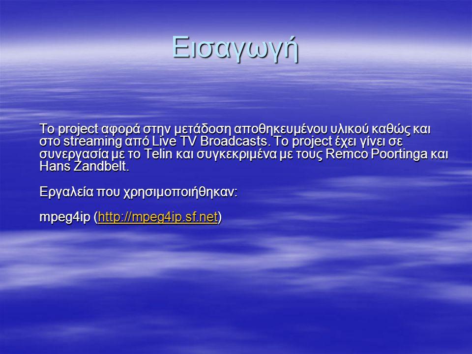Παράδειγμα sdp αρχείου a=isma-compliance:1,1.0,1 m=video 24060 RTP/AVP 96 b=AS:25 a=rtpmap:96 MP4V-ES/90000 a=fmtp:96 profile-level-id=8; config=000001b008000001b508000001000000012000c4888 002d0584121463f;a=mpeg4-esid:20a=x-mpeg4-simple-profile-decoder m=audio 24062 RTP/AVP 97 b=AS:24 a=rtpmap:97 mpeg4-generic/22050 a=fmtp:97 streamtype=5; profile-level-id=15; mode=AAC-hbr; config=1388; SizeLength=13; IndexLength=3; IndexDeltaLength=3; Profile=1; a=mpeg4-esid:10
