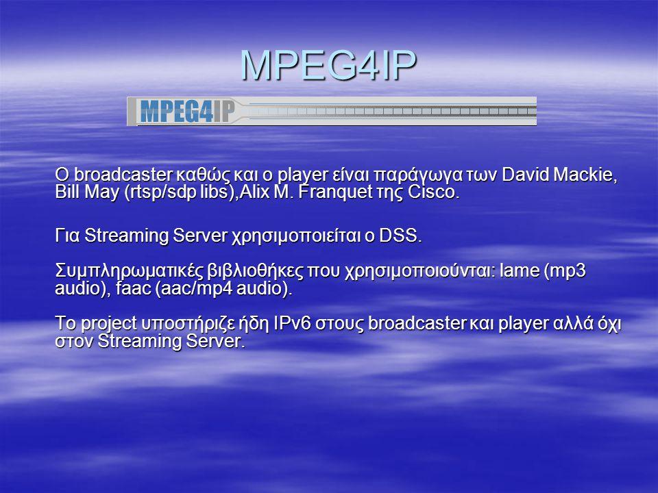 Darwin Streaming Server http://www.apple.com/quicktime/products/qtss http://developer.apple.com/darwin/projects/streaming/ http://www.apple.com/quicktime/products/qtss http://developer.apple.com/darwin/projects/streaming/ Βασίζεται στον QuickTime Streaming Server με την διαφορά ότι παρέχεται και ο πηγαίος κώδικας.