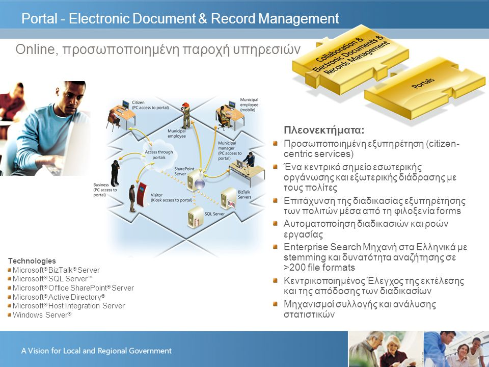 Portal - Electronic Document & Record Management Online, προσωποποιημένη παροχή υπηρεσιών Πλεονεκτήματα: Προσωποποιημένη εξυπηρέτηση (citizen- centric services) Ένα κεντρικό σημείο εσωτερικής οργάνωσης και εξωτερικής διάδρασης με τους πολίτες Επιτάχυνση της διαδικασίας εξυπηρέτησης των πολιτών μέσα από τη φιλοξενία forms Αυτοματοποίηση διαδικασιών και ροών εργασίας Enterprise Search Μηχανή στα Ελληνικά με stemming και δυνατότητα αναζήτησης σε >200 file formats Κεντρικοποιημένος Έλεγχος της εκτέλεσης και της απόδοσης των διαδικασίων Μηχανισμοί συλλογής και ανάλυσης στατιστικών Technologies Microsoft ® BizTalk ® Server Microsoft ® SQL Server ™ Microsoft ® Office SharePoint ® Server Microsoft ® Active Directory ® Microsoft ® Host Integration Server Windows Server ®