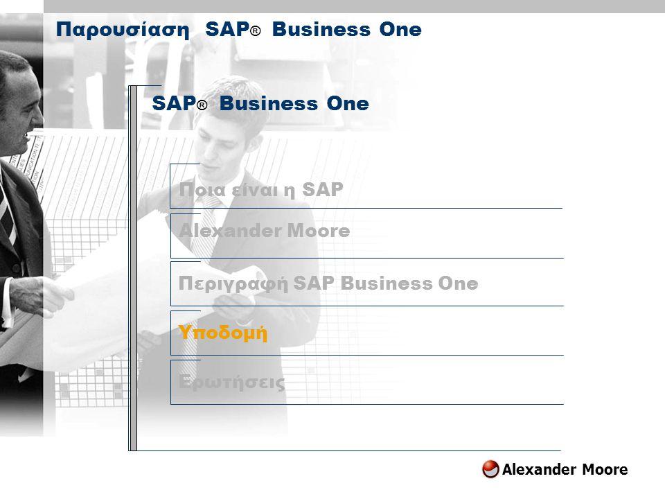 Alexander Moore Agenda SAP Business One Περιγραφή SAP Business One Υποδομή Ερωτήσεις Ποια είναι η SAP SAP ® Business One Παρουσίαση SAP ® Business One