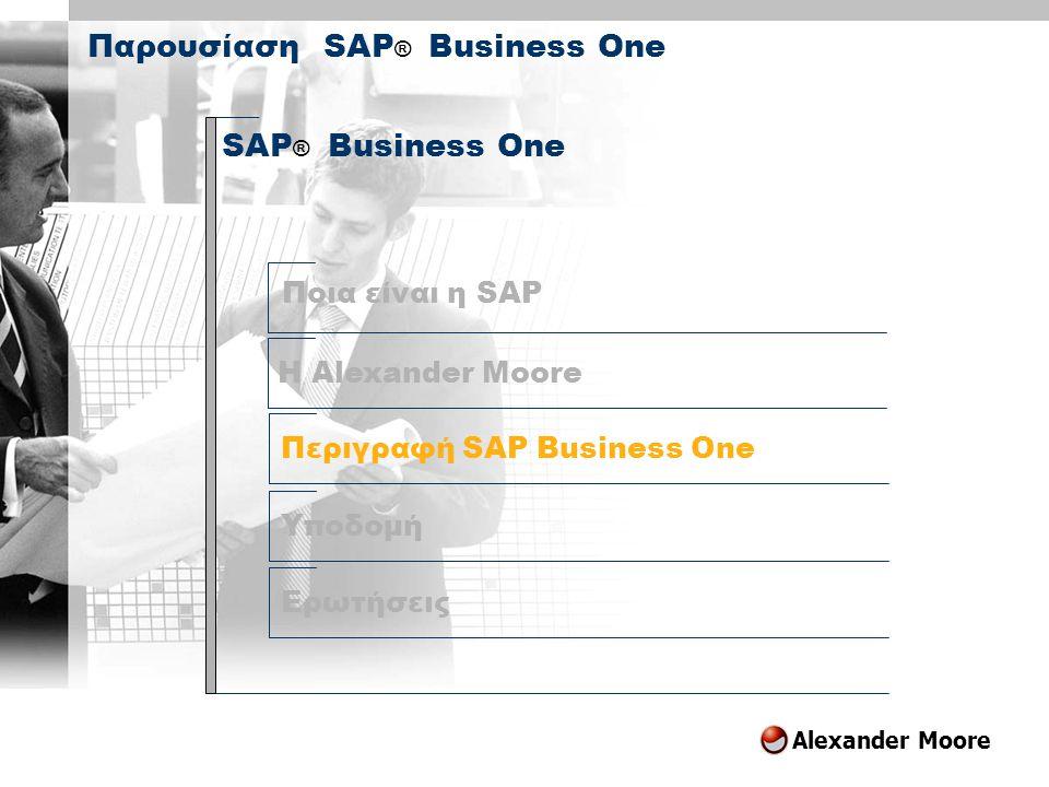 Alexander Moore Περιγραφή SAP Business One SAP ® Business One Υποδομή Ερωτήσεις Παρουσίαση SAP ® Business One H Alexander Moore Ποια είναι η SAP