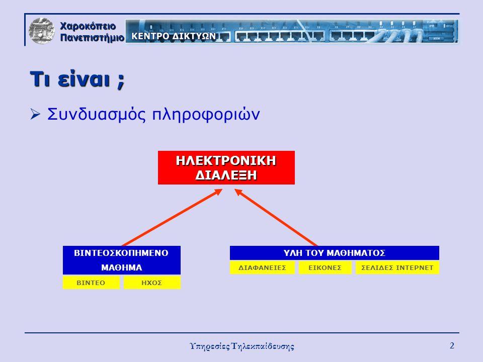 Χαροκόπειο Πανεπιστήμιο Υπηρεσίες Τηλεκπαίδευσης 2 Τι είναι ;  Συνδυασμός πληροφοριών ΗΛΕΚΤΡΟΝΙΚΗ ΔΙΑΛΕΞΗ ΥΛΗ ΤΟΥ ΜΑΘΗΜΑΤΟΣ ΔΙΑΦΑΝΕΙΕΣΕΙΚΟΝΕΣΣΕΛΙΔΕΣ