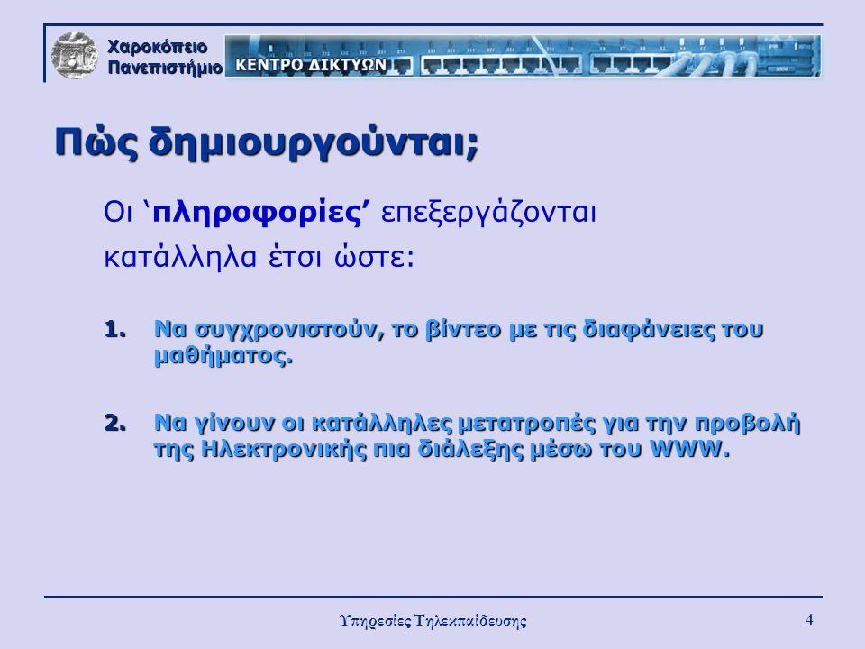 Χαροκόπειο Πανεπιστήμιο Υπηρεσίες Τηλεκπαίδευσης 4 Πώς δημιουργούνται; Οι 'πληροφορίες' επεξεργάζονται κατάλληλα έτσι ώστε: 1.Να συγχρονιστούν, το βίν