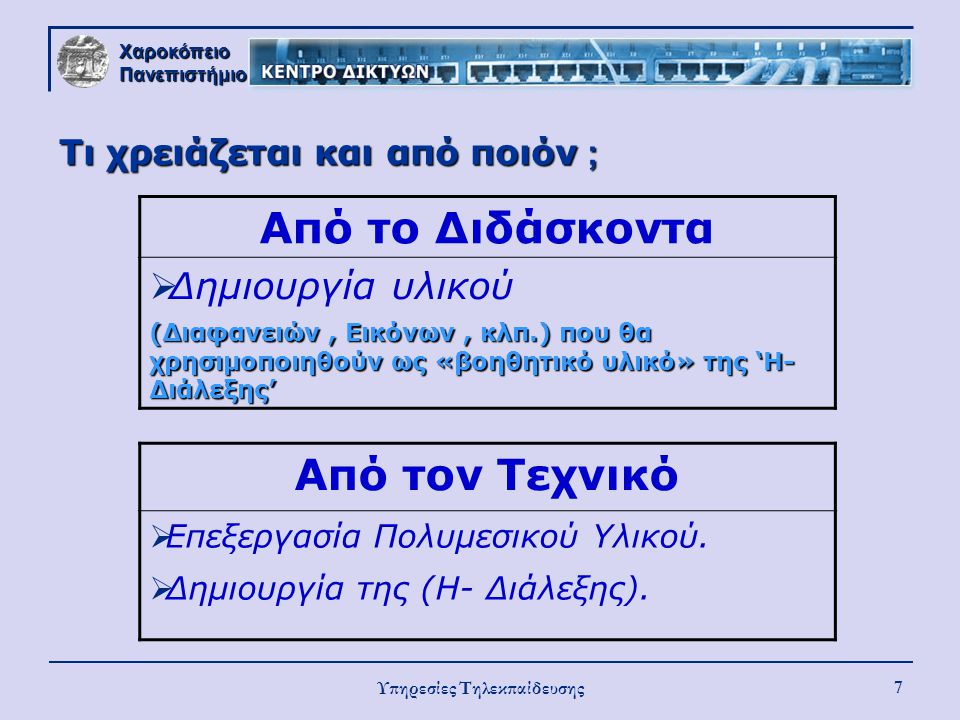 Χαροκόπειο Πανεπιστήμιο Υπηρεσίες Τηλεκπαίδευσης 7 Τι χρειάζεται και από ποιόν ; Από το Διδάσκοντα  Δημιουργία υλικού (Διαφανειών, Εικόνων, κλπ.) που