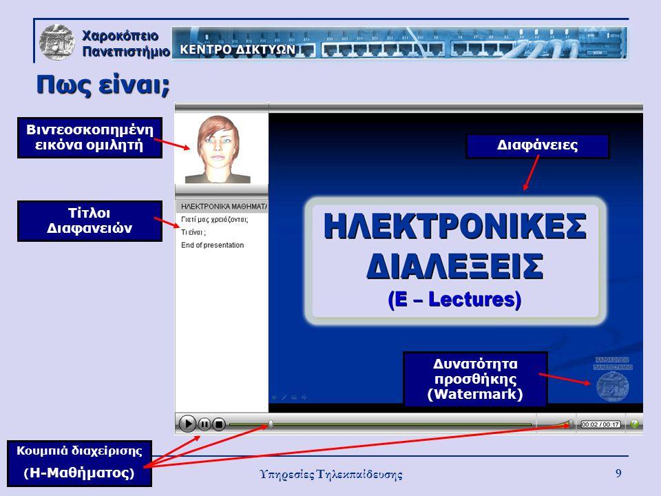 Χαροκόπειο Πανεπιστήμιο Υπηρεσίες Τηλεκπαίδευσης 9 Πως είναι; Βιντεοσκοπημένη εικόνα ομιλητή Τίτλοι Διαφανειών ΔιαφάνειεςΔυνατότητα προσθήκης (Waterma