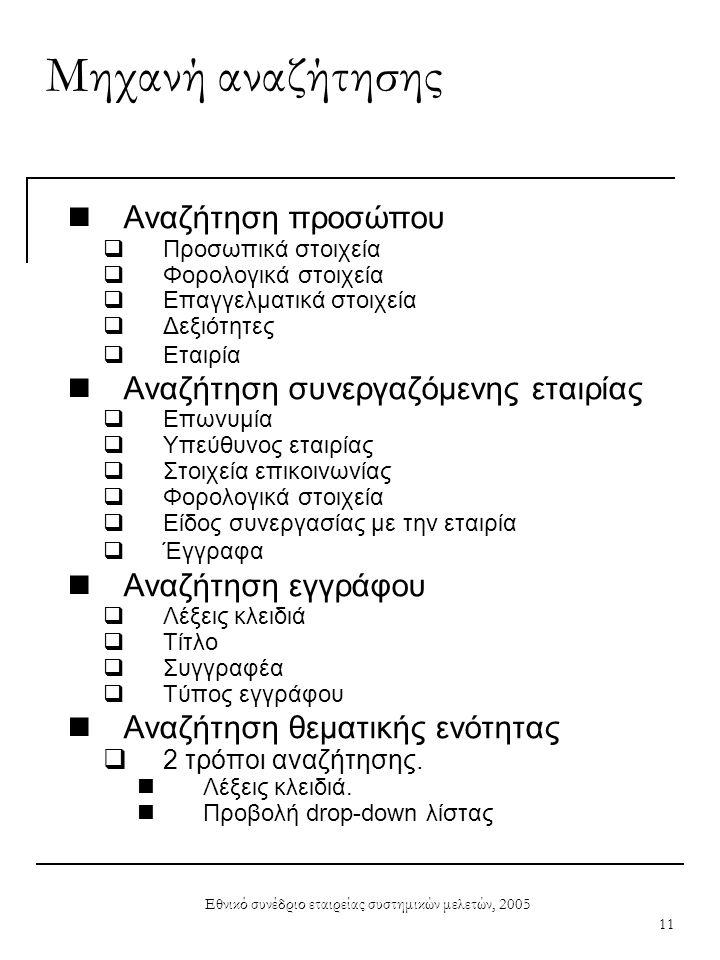 Εθνικό συνέδριο εταιρείας συστημικών μελετών, 2005 11 Μηχανή αναζήτησης  Αναζήτηση προσώπου  Προσωπικά στοιχεία  Φορολογικά στοιχεία  Επαγγελματικ