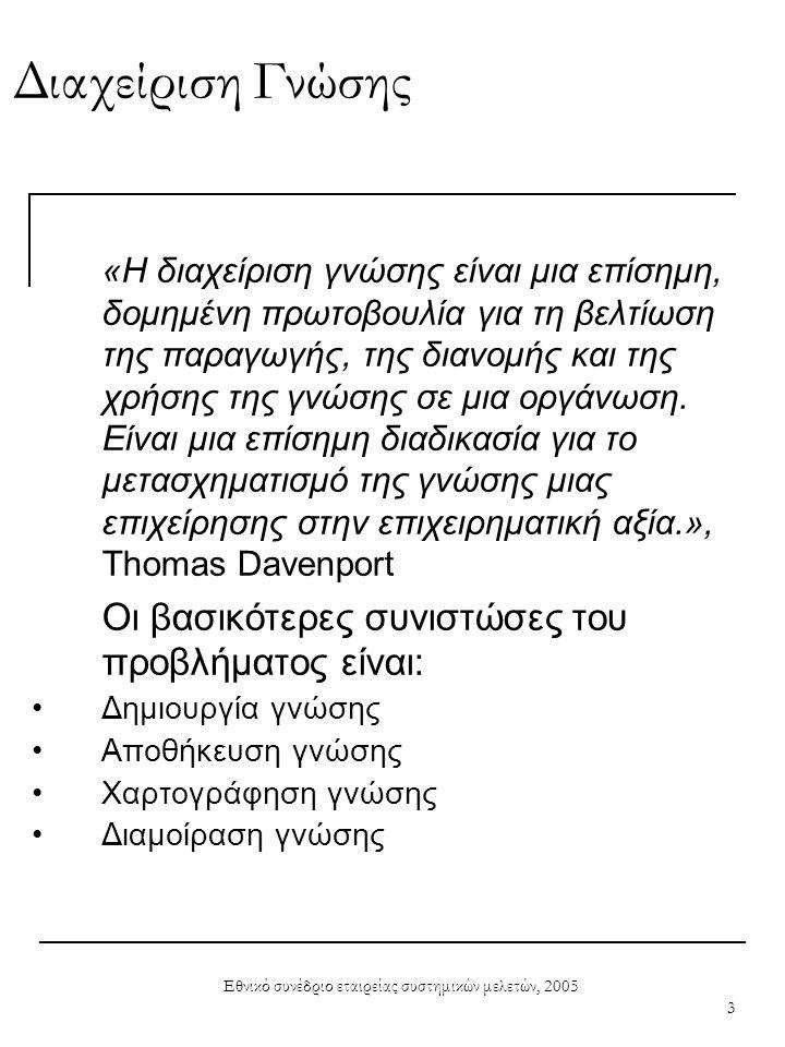 Εθνικό συνέδριο εταιρείας συστημικών μελετών, 2005 3 Διαχείριση Γνώσης «Η διαχείριση γνώσης είναι μια επίσημη, δομημένη πρωτοβουλία για τη βελτίωση τη