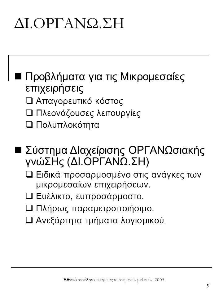 Εθνικό συνέδριο εταιρείας συστημικών μελετών, 2005 6 Λειτουργίες ΔΙ.ΟΡΓΑΝΩ.ΣΗ  Μοντελοποίηση της ροής εργασιών της επιχείρησης σε θεματικές ενότητες.