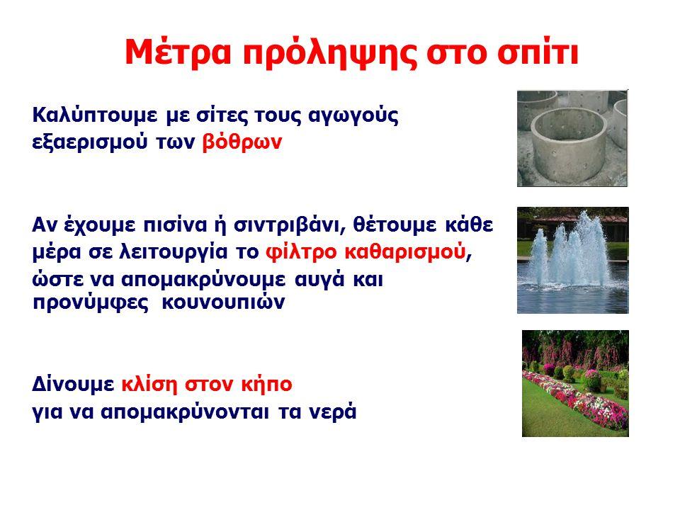 Μέτρα πρόληψης στο σπίτι Καλύπτουμε με σίτες τους αγωγούς εξαερισμού των βόθρων Αν έχουμε πισίνα ή σιντριβάνι, θέτουμε κάθε μέρα σε λειτουργία το φίλτ