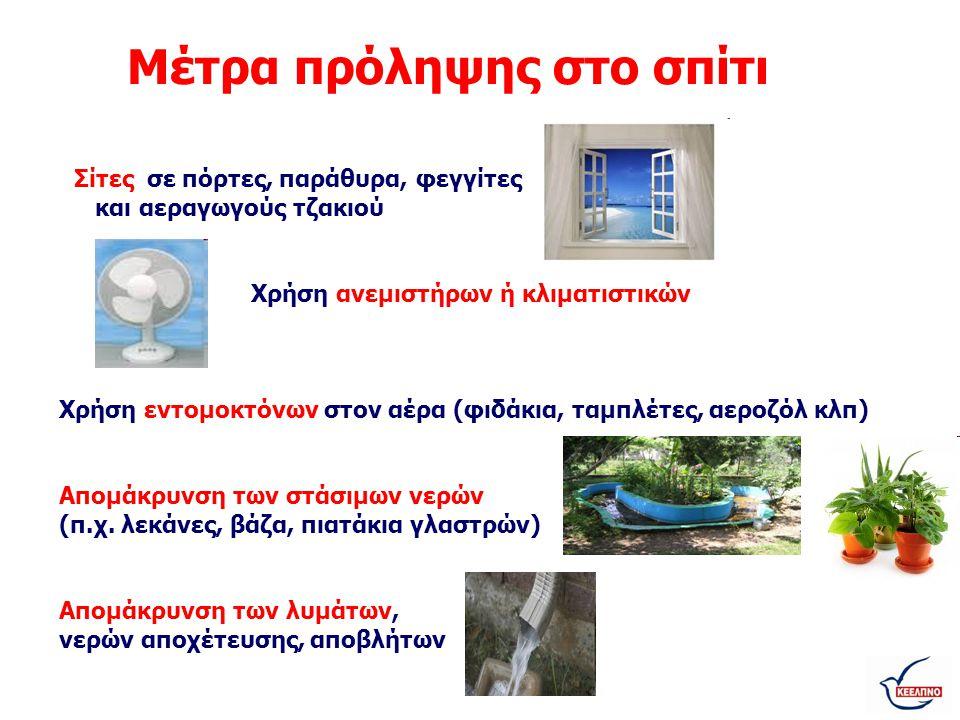 Μέτρα πρόληψης στο σπίτι Σίτες σε πόρτες, παράθυρα, φεγγίτες και αεραγωγούς τζακιού Χρήση ανεμιστήρων ή κλιματιστικών Χρήση εντομοκτόνων στον αέρα (φι