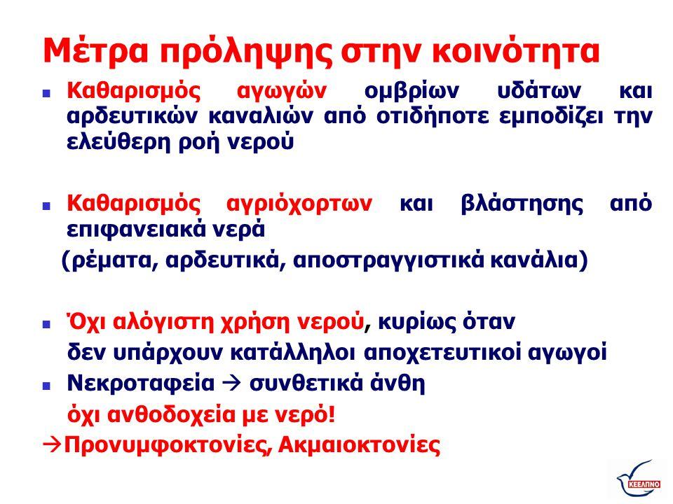 Προστασία επαγγελματιών υγείας •Βασικές προφυλάξεις κατά την αιμοληψία •Νοσηλεία σε απλό θάλαμο, με προστασία του ασθενούς από τσιμπήματα κουνουπιών (κουνουπιέρα) •Δεν απαιτούνται: - νοσηλεία σε εξειδικευμένο νοσοκομείο - απομόνωση ασθενούς (απλώς χρήση κουνουπιέρας) - ειδικά μέτρα απολύμανσης – αποστείρωσης εργαλείων (οι συνήθεις διαδικασίες) 18