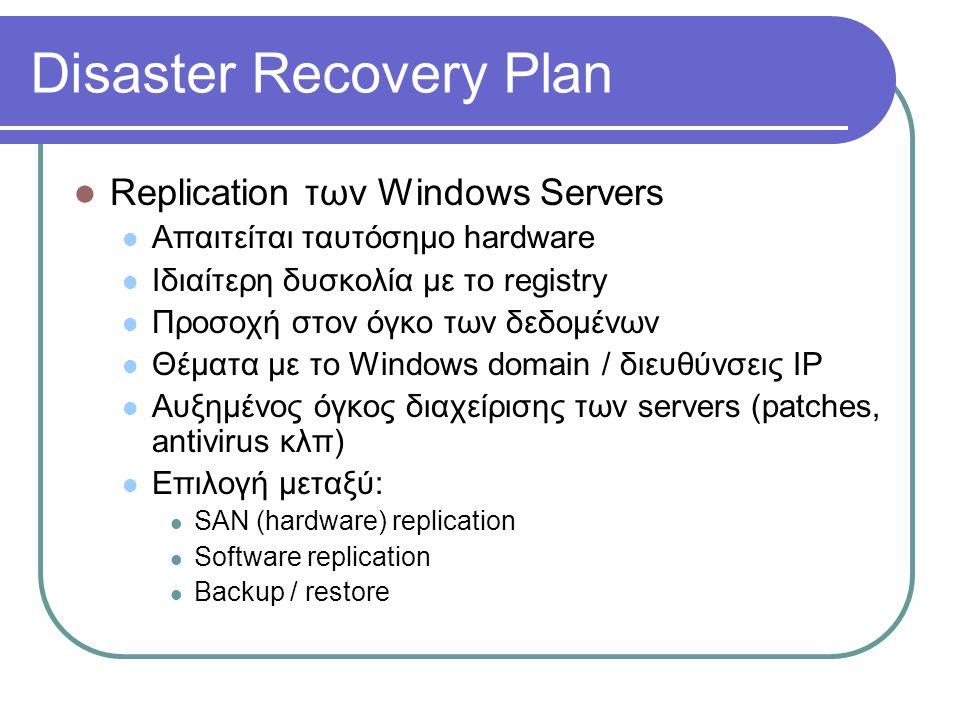 Disaster Recovery Plan  Replication των Windows Servers  Απαιτείται ταυτόσημο hardware  Ιδιαίτερη δυσκολία με το registry  Προσοχή στον όγκο των δ
