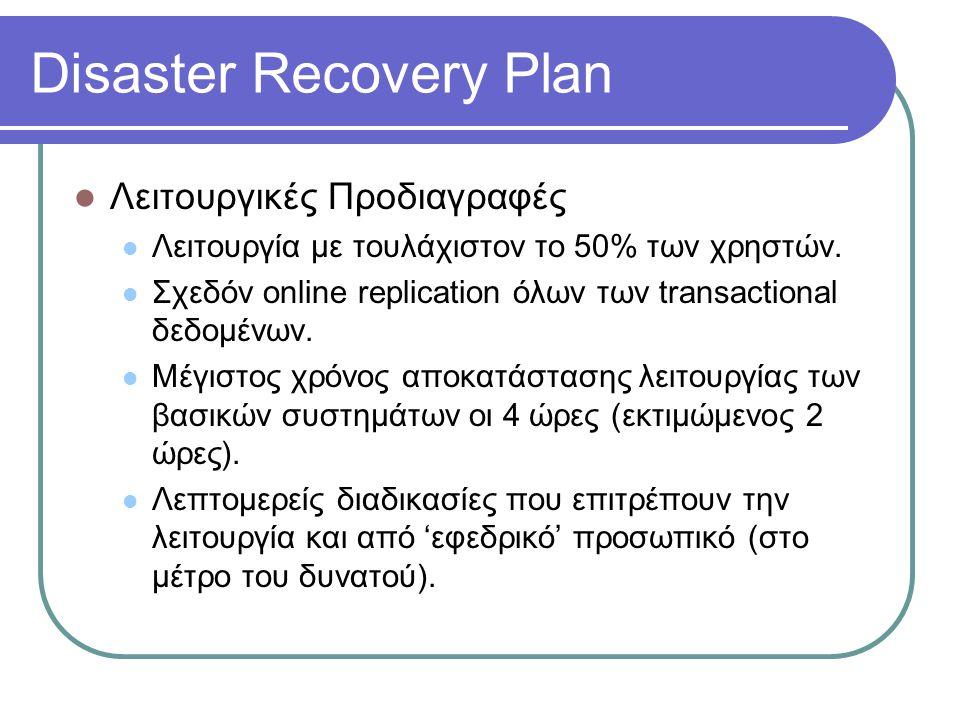 Disaster Recovery Plan  Λειτουργικές Προδιαγραφές  Λειτουργία με τουλάχιστον το 50% των χρηστών.  Σχεδόν online replication όλων των transactional