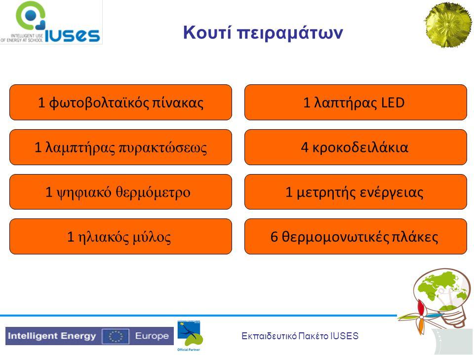 Εκπαιδευτικό Πακέτο IUSES Κουτί πειραμάτων 1 φωτοβολταϊκός πίνακας1 λαπτήρας LED 1 λ αμπτήρας πυρακτώσεως 4 κροκοδειλάκια 1 ψηφιακό θερμόμετρο 1 μετρητής ενέργειας 1 ηλιακός μύλος 6 θερμομονωτικές πλάκες