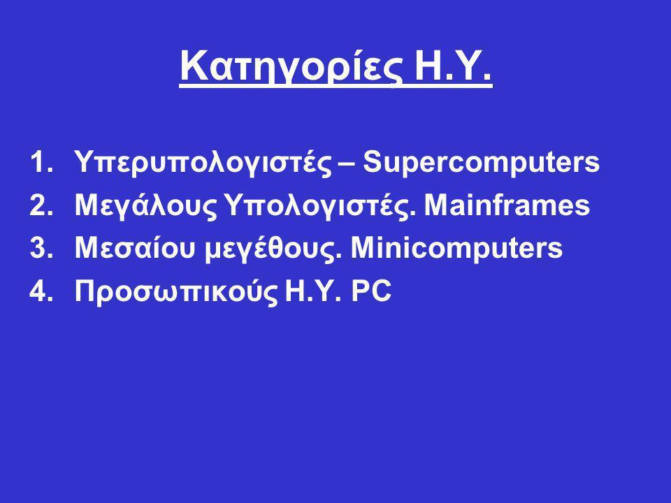 Χαρακτηριστικά Απόδοσης Η.Υ. 1.Τύπος και ταχύτητα της ΚΜΕ 2.Μνήμη RAM 3.Χωρητικότητα και ταχύτητα του σκληρού δίσκου.