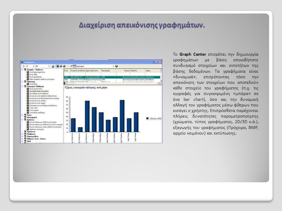 Διαχείριση απεικόνισης γραφημάτων. Το Graph Center επιτρέπει την δημιουργία γραφημάτων με βάση οποιοδήποτε συνδυασμό στοιχείων και οντοτήτων της βάσης