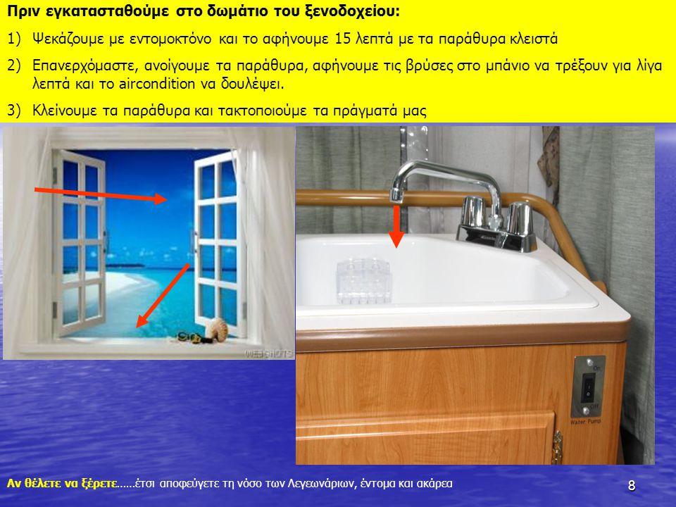8 Πριν εγκατασταθούμε στο δωμάτιο του ξενοδοχείου: 1)Ψεκάζουμε με εντομοκτόνο και το αφήνουμε 15 λεπτά με τα παράθυρα κλειστά 2)Επανερχόμαστε, ανοίγου