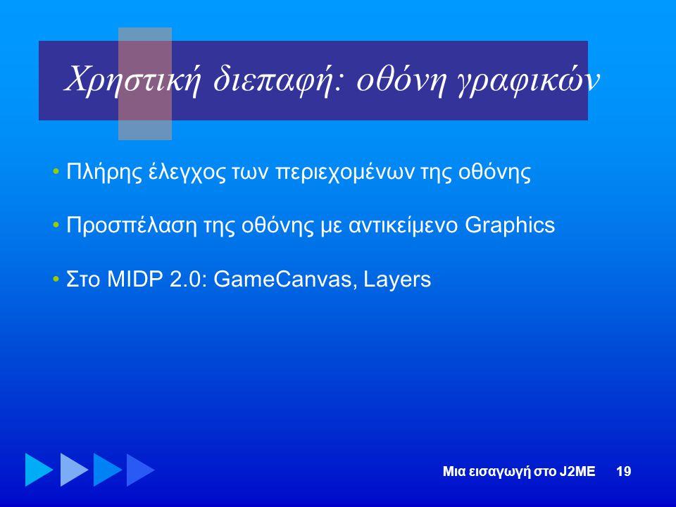 Μια εισαγωγή στο J2ME19 • Πλήρης έλεγχος των περιεχομένων της οθόνης • Προσπέλαση της οθόνης με αντικείμενο Graphics • Στο MIDP 2.0: GameCanvas, Layer