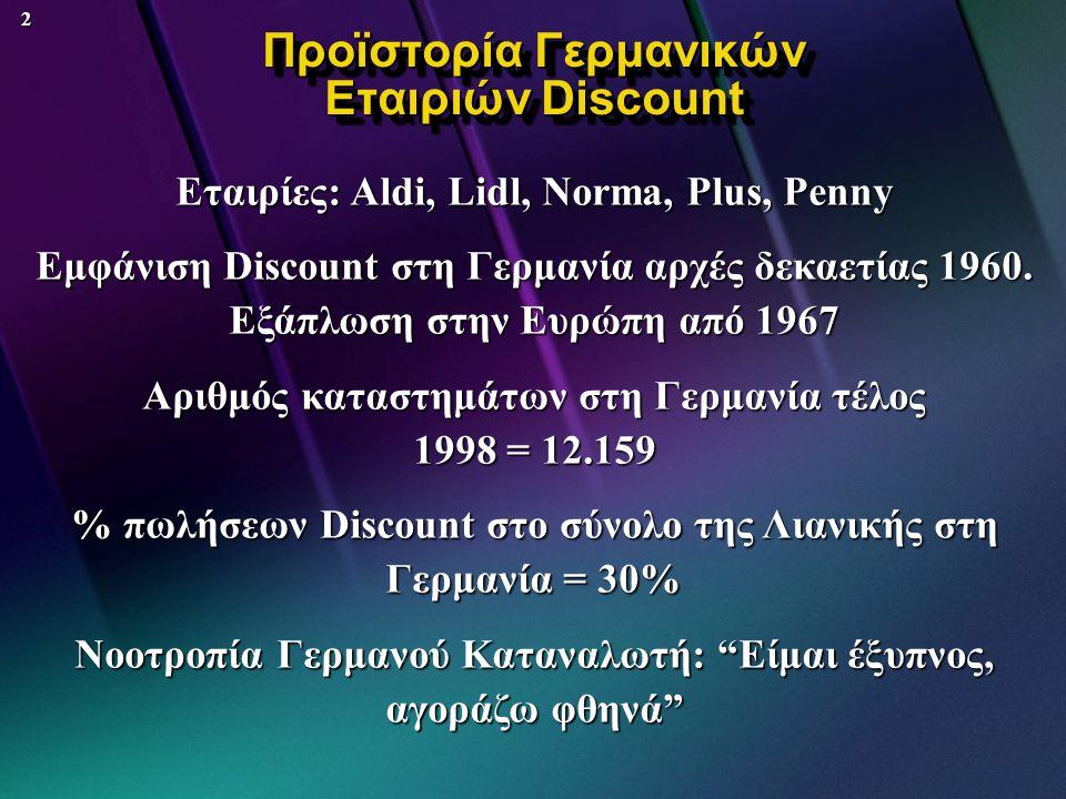 2 Προϊστορία Γερμανικών Εταιριών Discount Εταιρίες: Aldi, Lidl, Norma, Plus, Penny Εμφάνιση Discount στη Γερμανία αρχές δεκαετίας 1960.