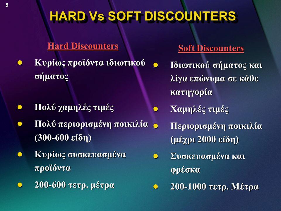 5 HARD Vs SOFT DISCOUNTERS HARD Vs SOFT DISCOUNTERS Hard Discounters  Κυρίως προϊόντα ιδιωτικού σήματος  Πολύ χαμηλές τιμές  Πολύ περιορισμένη ποικιλία (300-600 είδη)  Κυρίως συσκευασμένα προϊόντα  200-600 τετρ.