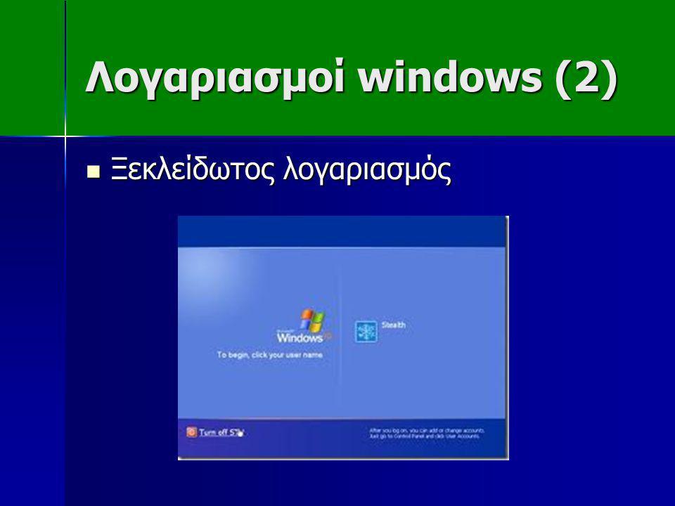 Λογαριασμοί windows (2)  Ξεκλείδωτος λογαριασμός