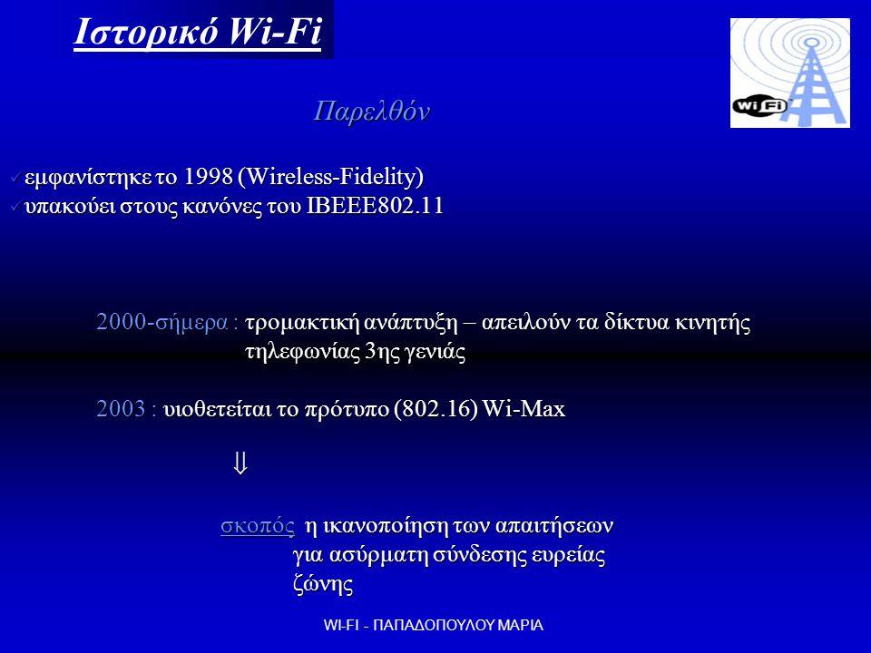 Ιστορικό Wi-Fi Παρελθόν Παρελθόν  εμφανίστηκε το 1998 (Wireless-Fidelity)  υπακούει στους κανόνες του ΙΒΕΕΕ802.11 2000-σήμερα : τρομακτική ανάπτυξη – απειλούν τα δίκτυα κινητής τηλεφωνίας 3ης γενιάς τηλεφωνίας 3ης γενιάς 2003 : υιοθετείται το πρότυπο (802.16) Wi-Max  σκοπός η ικανοποίηση των απαιτήσεων σκοπός η ικανοποίηση των απαιτήσεων για ασύρματη σύνδεσης ευρείας για ασύρματη σύνδεσης ευρείας ζώνης ζώνης WI-FI - ΠΑΠΑΔΟΠΟΥΛΟΥ ΜΑΡΙΑ