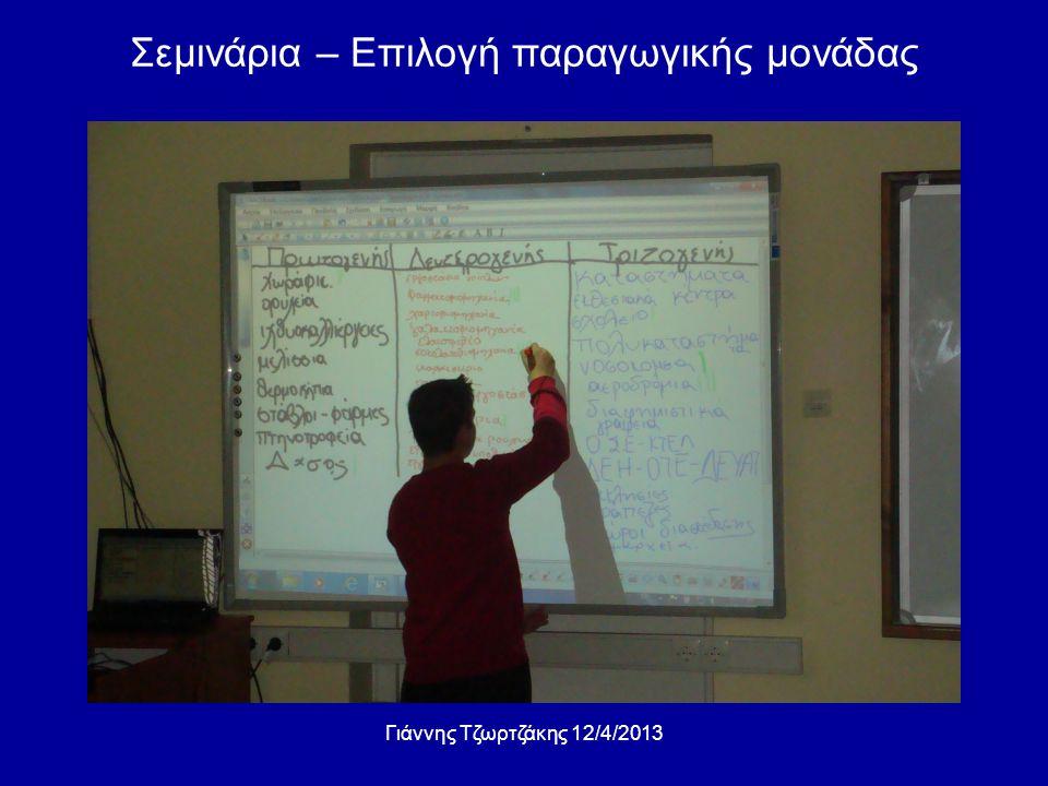 Σεμινάρια – Επιλογή παραγωγικής μονάδας Γιάννης Τζωρτζάκης 12/4/2013