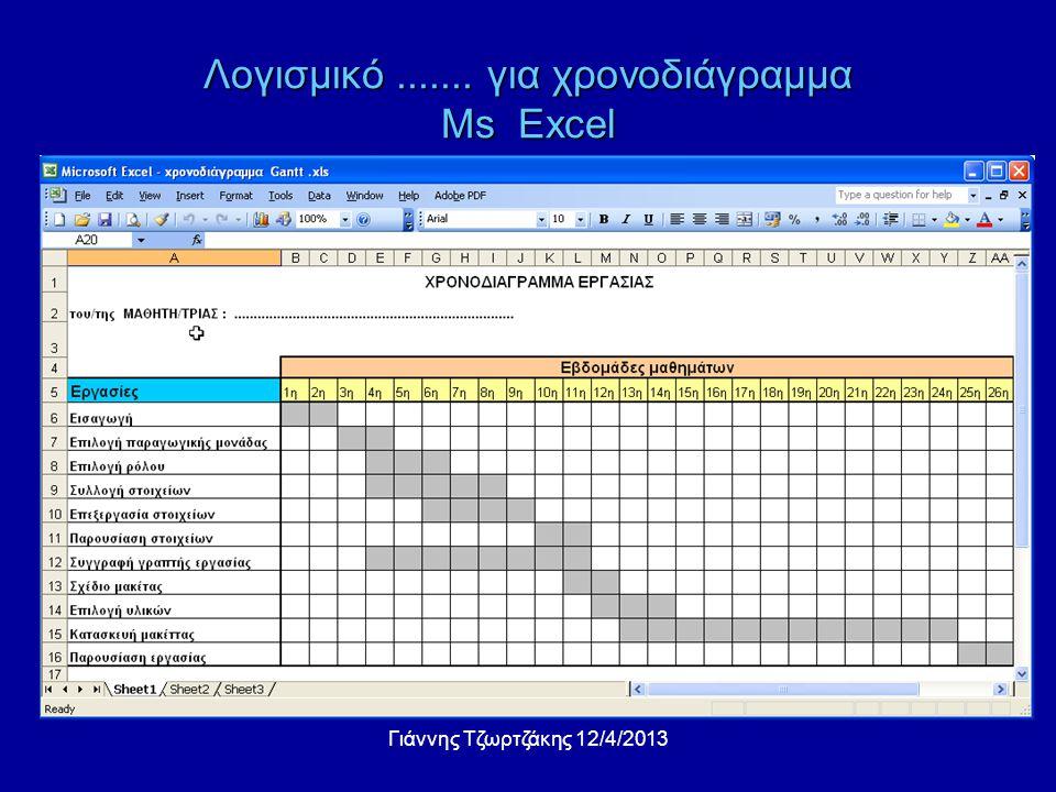 Λογισμικό....... για χρονοδιάγραμμα Ms Excel Γιάννης Τζωρτζάκης 12/4/2013