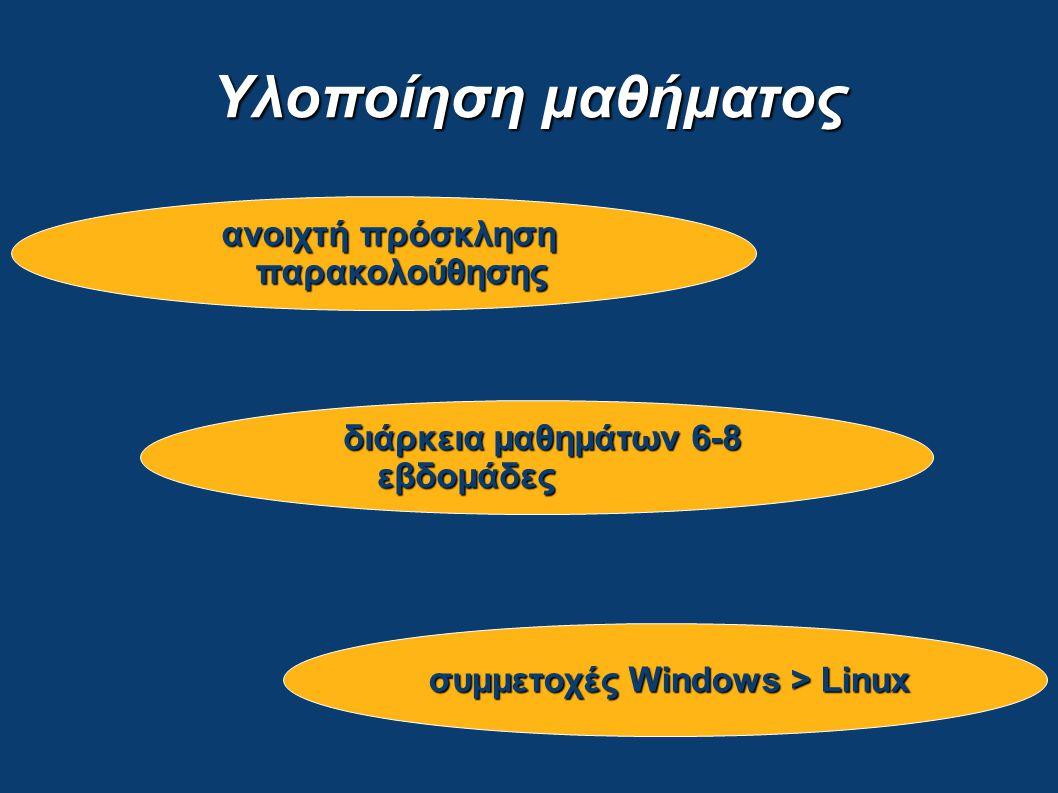 Υλοποίηση μαθήματος ανοιχτή πρόσκληση παρακολούθησης συμμετοχές Windows > Linux διάρκεια μαθημάτων 6-8 εβδομάδες