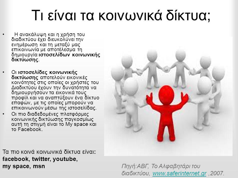 Τι είναι τα κοινωνικά δίκτυα; • Η ανακάλυψη και η χρήση του διαδικτύου έχει διευκολύνει την ενημέρωση και τη μεταξύ μας επικοινωνία με αποτέλεσμα τη δημιουργία ιστοσελίδων κοινωνικής δικτύωσης.