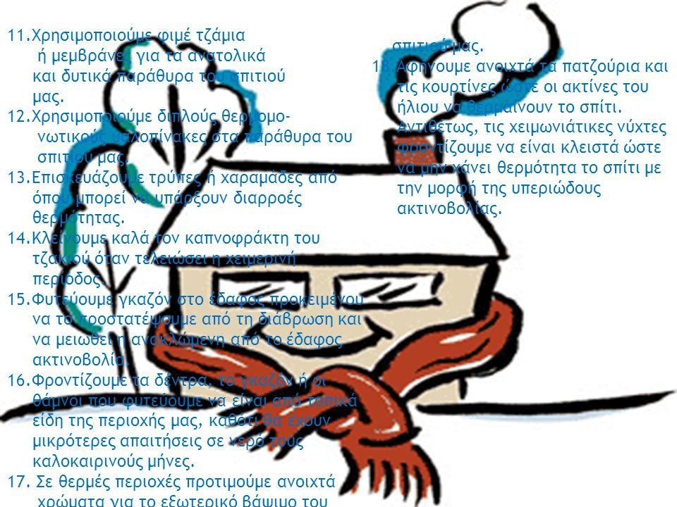 11.Χρησιμοποιούμε φιμέ τζάμια ή μεμβράνες για τα ανατολικά και δυτικά παράθυρα του σπιτιού μας. 12.Χρησιμοποιούμε διπλούς θερμομο- νωτικούς υαλοπίνακε
