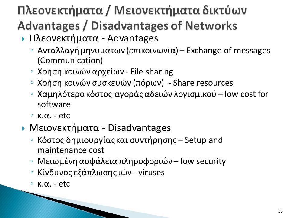  Πλεονεκτήματα - Advantages ◦ Ανταλλαγή μηνυμάτων (επικοινωνία) – Exchange of messages (Communication) ◦ Χρήση κοινών αρχείων - File sharing ◦ Χρήση