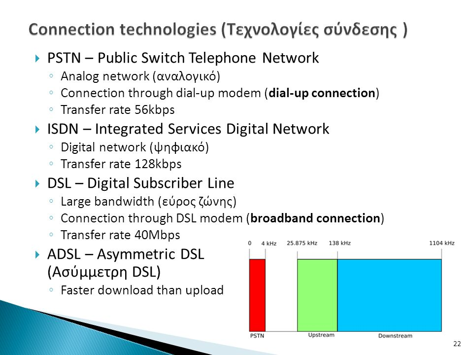  PSTN – Public Switch Telephone Network ◦ Analog network (αναλογικό) ◦ Connection through dial-up modem (dial-up connection) ◦ Transfer rate 56kbps  ISDN – Integrated Services Digital Network ◦ Digital network (ψηφιακό) ◦ Transfer rate 128kbps  DSL – Digital Subscriber Line ◦ Large bandwidth (εύρος ζώνης) ◦ Connection through DSL modem (broadband connection) ◦ Transfer rate 40Mbps  ADSL – Asymmetric DSL (Ασύμμετρη DSL) ◦ Faster download than upload 22