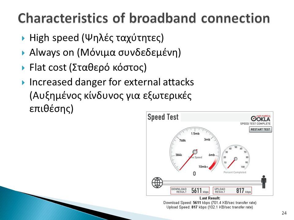  High speed (Ψηλές ταχύτητες)  Always on (Μόνιμα συνδεδεμένη)  Flat cost (Σταθερό κόστος)  Increased danger for external attacks (Αυξημένος κίνδυν