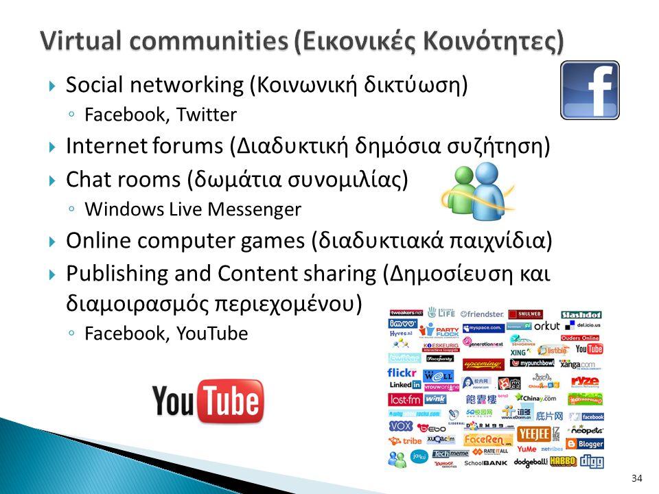  Social networking (Κοινωνική δικτύωση) ◦ Facebook, Twitter  Internet forums (Διαδυκτική δημόσια συζήτηση)  Chat rooms (δωμάτια συνομιλίας) ◦ Windo
