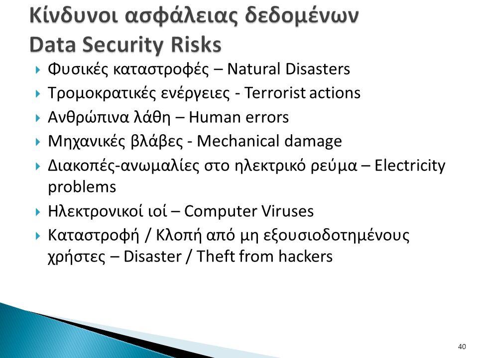  Φυσικές καταστροφές – Natural Disasters  Τρομοκρατικές ενέργειες - Terrorist actions  Ανθρώπινα λάθη – Human errors  Μηχανικές βλάβες - Mechanica