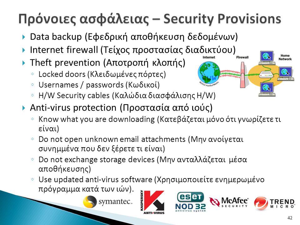  Data backup (Εφεδρική αποθήκευση δεδομένων)  Internet firewall (Τείχος προστασίας διαδικτύου)  Theft prevention (Αποτροπή κλοπής) ◦ Locked doors (