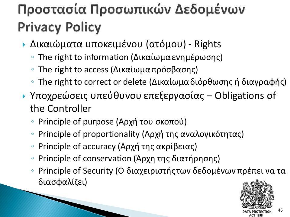  Δικαιώματα υποκειμένου (ατόμου) - Rights ◦ The right to information (Δικαίωμα ενημέρωσης) ◦ The right to access (Δικαίωμα πρόσβασης) ◦ The right to